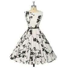 Women Summer Clothing Audrey Hepburn Floral Robe Retro Swing Casual Dresses