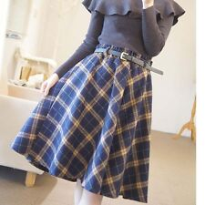 Women Tartan Woolen Plaid Skirt Kilt Winter A Line Vintage Pleated Tartan Skirts