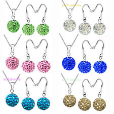 "10mm SHAMBALLA SET Disco Ball Crystal Beads Silver Dangler Earring 18"" necklace"