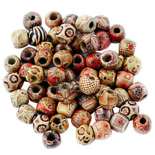 100pcs Mixed Shapes Sizes Colour Wooden Beads Jewelry Making Loose Spacer Charms