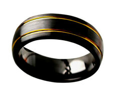 Men Women Inside Engraving Ceramic Wedding Band Ring 8mm Brushed 2 Tone Black