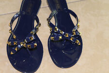 Navy Blue Jelly Bow Studded Sandals