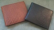 Men's Snake Lizard Pattern GENUINE LEATHER Black Brown Slim Thin Bi-fold WALLET