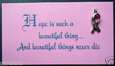 CANCER CHARITY SALE - HOPE INSPIRATIONAL WALLET CARD GIFT & TIBETAN SILVER CHARM