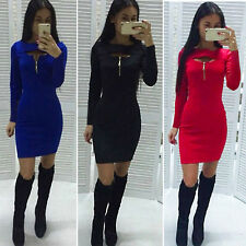 Sexy Womens Bodycon Long Sleeve Short Mini Dress Cocktail Party Evening Clubwear