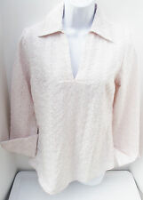 NEW CAROLE LITTLE SOLID PINK or BROWN EYELET LACE FRENCH CUFF LINEN BLOUSE TOP S
