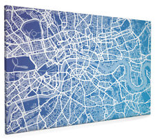 Map of London Contemporary Box Canvas and Poster Print (510)