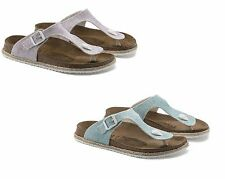 BIRKENSTOCK PAPILLIO GIZEH BEACH LIGHT GREY PURPLE BLUE WOMEN'S THONGS SANDALS