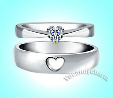 SET of TWO Made in Korea Open Matching Heart Cut CZ Love Couple Engagement Rings