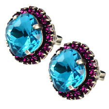 Nara Round Square Crystal Stud Earrings, Silver Plated with Swarovski