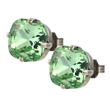 Nara Square Crystal Stud Earrings, Silver Plated Post with Swarovski