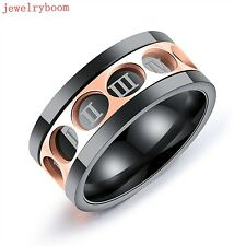 Stainless Steel Rotatable roman numerals Band Rings Size 7-11# Black & Rose Gold