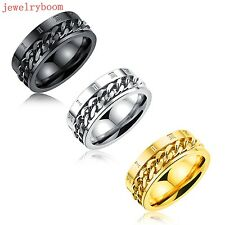 Size 7-11 Stainless Steel Rotatable roman numerals Link Band Rings Men's Gifts