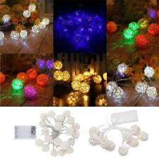 Battery Operated Rattan Ball LED Rope Fairy String Light Holiday Decorative Lamp