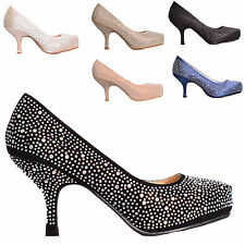 LADIES WOMENS LOW MID HEEL PLATFORM WORK PARTY PROM COURT SHOES PUMPS SIZE 3-8