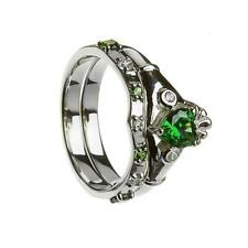 New Ladies Silver and Emerald CZ Two Part Irish Celtic Claddagh Stone Set Ring
