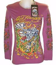 New Women's Ed Hardy Long Sleeve Specialty T Shirt Stretch Flaming Tiger Xsmall
