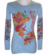 New Women's Ed Hardy Long Sleeve Specialty T Shirt Stretch Love Cross s XS
