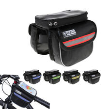 Bicycle Bike Waterproof Front Top Tube Frame Pannier Phone Holder Double Bag