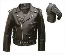 Mens Black Leather Motorcycle Riding Biker Jacket Zip Out Liner Side Laces