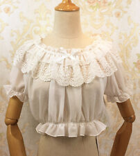 Sweet Lolita Fashion Lace Gothic Short Sleeve Chiffon Blouse Short Tops#NX-H22