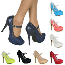 WOMENS SEXY LACE HIGH STILETTO HEEL PLATFORM STRAPPY MARY JANE FULL TOE SHOES
