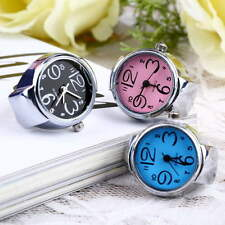 Creative Nice Steel Round Elastic Quartz Finger Ring Watch Lady Girl Gift lot SG