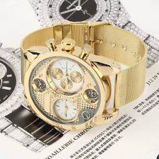 Fashion Exquisite Double Movement Analog Quartz Wrist Watch Steel Band Gifts SG