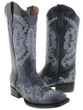 Womens Denim Blue Studded Leather Western Stitched Cowboy Square Toe Boots