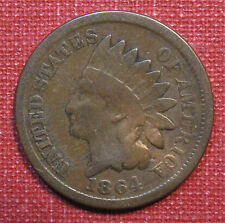1864 INDIAN BRONZE HEAD CENT - BOLD DATE, FULL RIMS, VERY SEVERE DIE ROTATION!