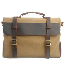 Men Women Canvas Leather Handbag Briefcase Messenger Tote Shoulder Bag Satchel