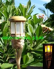 2-Pack Solar-Powered Bamboo Tiki Torch Led Path Lights W/ 5 LEDs & 2 Batteries