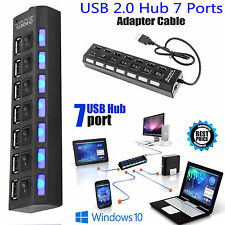 7 Ports Hub USB 2.0 For PC Laptop External Extension Adapter + Power Cable New