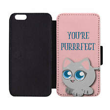 Wallet Phone Case You're Purrrfect Perfect Kitty Cat Kitten Meow Big Eyes Pink P