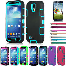 For Samsung Galaxy S IV Heavy Duty Hybrid Rugged Rubber Hard Case Cover S4 i9500