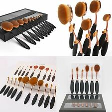 10x Professional Makeup Brushes Set Oval Cream Puff Toothbrush Foundation Tool
