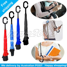 Big Windproof Double Layer Upside Down Inside Inverted Umbrella Reverse C Handle