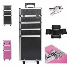 4 in 1 Rolling Cosmetic Makeup Train Cases Trolley Beauty Artist Organizer Box