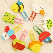 12/60pcs Animal Pattern Clip Paper Note Clips Wooden Bookmark Office Supplies