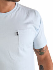 883 Police Normal Sky Blue Plain Small Chest Pocket Crew Neck T-Shirt Tee Top