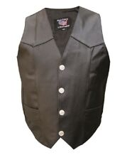 Mens Black Leather Motorcycle Biker Vest Buffalo Snaps Split Cowhide