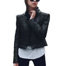 Fashion Womens Fur Collar PU Leather Winter Warm Coat Short Jacket Overcoat Tops