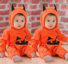 Toddler Baby Girl Boy Halloween Pumpkin Rompers Jumpsuit Outfits Cosplay Costume