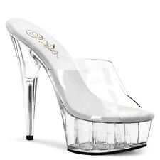 "PLEASER Sexy Womens Stripper Dancer Clear DEL601 6"" Heels Platform Exotic Shoes"