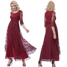 Vintage Style Appique 3/4 Sleeve Lace Bridesmaid Evening Party Formal Long Dress