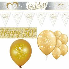 50th Golden Wedding Anniversary Party Decorations Celebration Banner Balloons