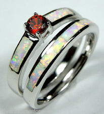 Garnet & White Fire Opal Inlay 925 Sterling Silver Stackable Band Ring Set 6-9