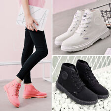 Womens Solid Lace Up Mid Calf Round Shoes Flat Combat Ankle Martin Boots Size