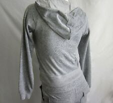 Size S L Gray Solid Velour Zip Up Hoodie New Rhinestone Crystal Fleur De Lis NWT