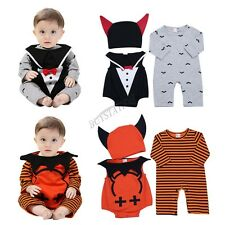 Toddler Baby Boy Halloween Pumpkin/Evil Rompers Jumpsuit Outfits Cosplay Costume